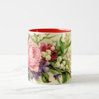 El vintage florece taza
