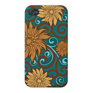 El vintage florece y los remolinos de la turquesa iPhone 4 protector