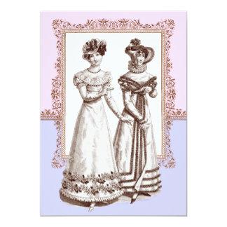 """El vintage forma el cordón rosado y púrpura ducha invitación 5"""" x 7"""""""