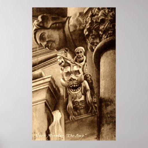 El vintage gótico 1912 de la catedral del Imp Póster