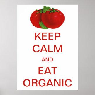 El vintage guarda calma y come los tomates póster
