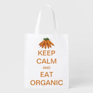 El vintage guarda calma y come zanahorias orgánica bolsa de la compra