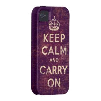 El vintage guarda calma y continúa Case-Mate iPhone 4 carcasas