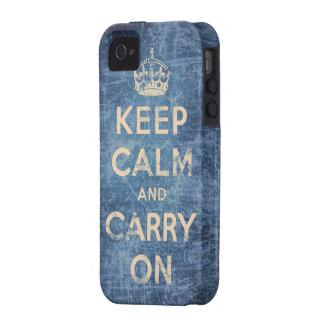El vintage guarda calma y continúa Case-Mate iPhone 4 fundas