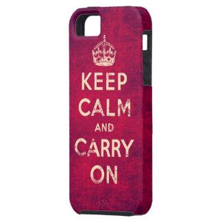 El vintage guarda calma y continúa funda para iPhone 5 tough