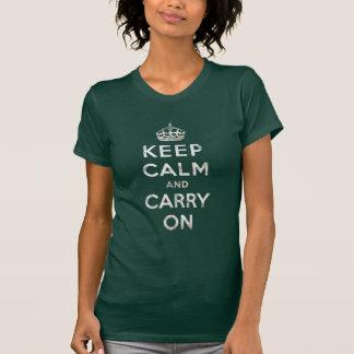 El vintage guarda calma y continúa camiseta