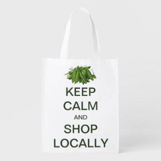 El vintage guarda calma y hace compras localmente bolsa de la compra