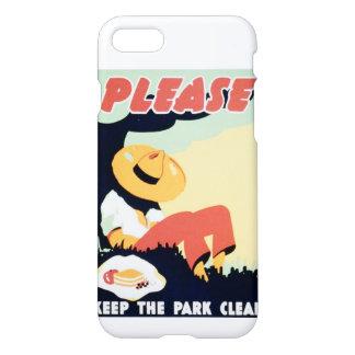 El vintage guarda por favor el parque WPA limpio Funda Para iPhone 7