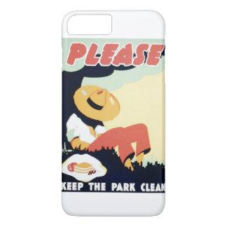 El vintage guarda por favor el poster limpio de funda iPhone 7 plus