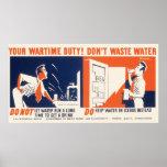 El vintage hace no poster de WPA de las aguas resi