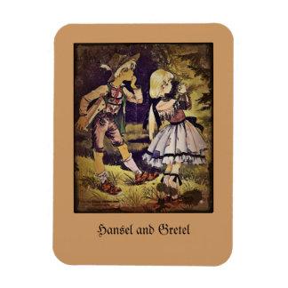 El vintage Hansel y Gretel considera la cabaña Imanes De Vinilo