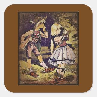 El vintage Hansel y Gretel considera la cabaña Pegatina Cuadrada