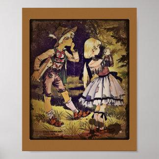 El vintage Hansel y Gretel considera la cabaña Póster