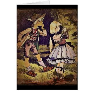 El vintage Hansel y Gretel considera la cabaña Tarjeta De Felicitación