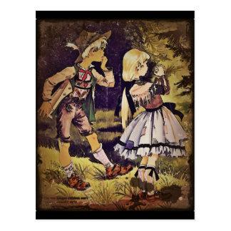El vintage Hansel y Gretel considera la cabaña Tarjetas Postales