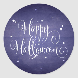 El vintage hermoso protagoniza Halloween azul Etiqueta Redonda