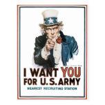 El vintage I le quiere poster del ejército Tarjeta Postal