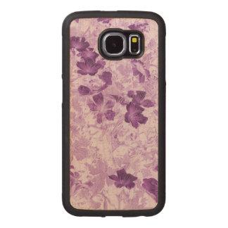 El vintage inspiró color de malva floral funda de madera para samsung galaxy s6