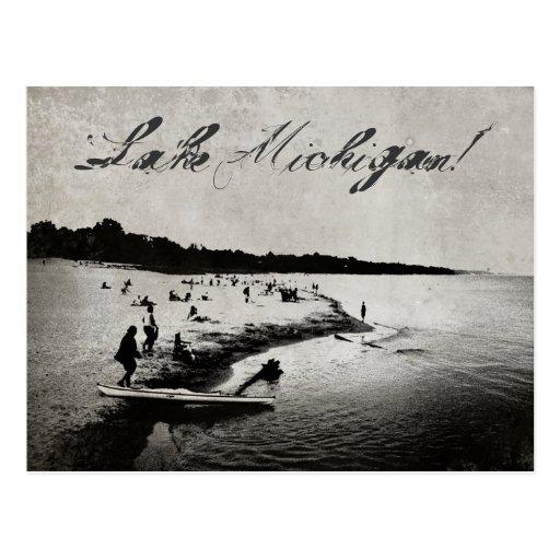 El vintage inspiró la postal de la playa del lago