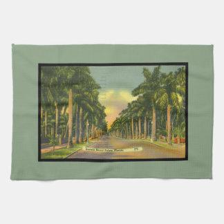 El vintage inspiró las palmeras reales majestuosas toalla de mano