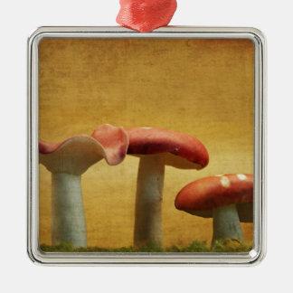 El vintage inspiró Toadstools rojos Adorno Navideño Cuadrado De Metal