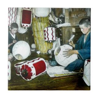 El vintage Japón del artesano del pintor de la Azulejo Cuadrado Pequeño