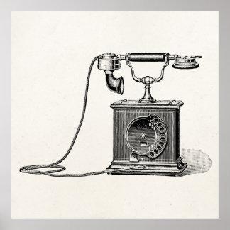 El vintage llama por teléfono a los teléfonos retr póster