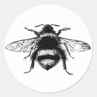 El vintage manosea la abeja pegatina redonda