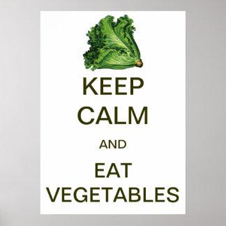 El vintage mantiene tranquilo y come verduras póster