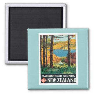 El vintage Marlborough suena Nueva Zelanda Imán Cuadrado