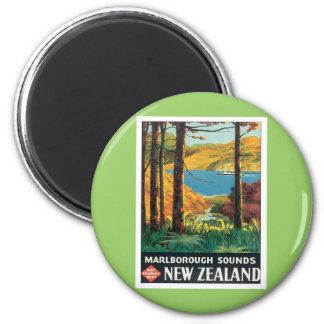 El vintage Marlborough suena Nueva Zelanda Imán Redondo 5 Cm