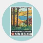 El vintage Marlborough suena Nueva Zelanda Pegatina Redonda