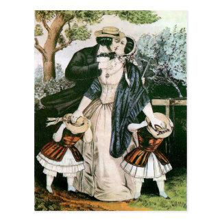 "El vintage ""me besa aprisa"" humor del Victorian Tarjeta Postal"