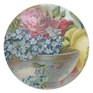 El vintage me olvida no placa de los rosas platos