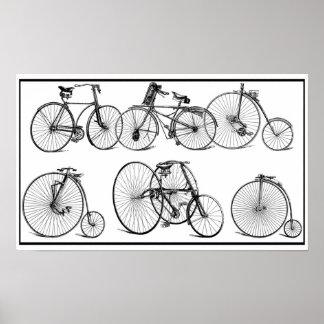 El vintage monta en bicicleta el poster