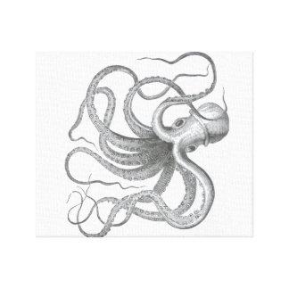 El vintage náutico del pulpo del steampunk kraken  impresión en lienzo estirada