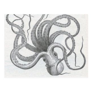 El vintage náutico del pulpo del steampunk kraken postales