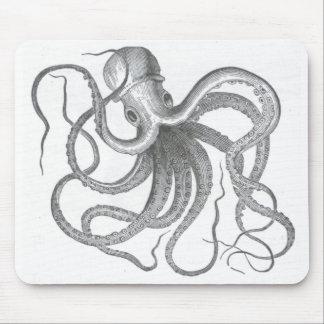 El vintage náutico del pulpo del steampunk kraken alfombrillas de raton