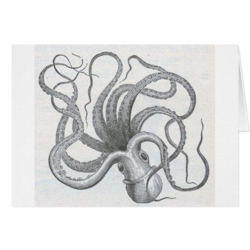 El vintage náutico del pulpo del steampunk kraken felicitación