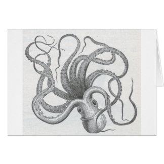 El vintage náutico del pulpo del steampunk kraken tarjeta de felicitación