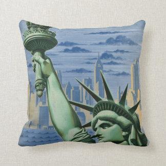 El vintage Nueva York le invita a viajar anuncio Cojín