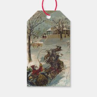 El vintage Papá Noel está viniendo a la ciudad Etiquetas Para Regalos