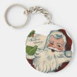 El vintage Papá Noel hace frente a los regalos Llavero