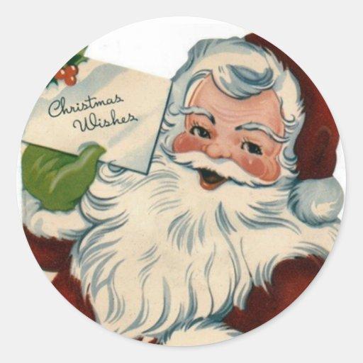 El vintage Papá Noel hace frente a los regalos Pegatina Redonda