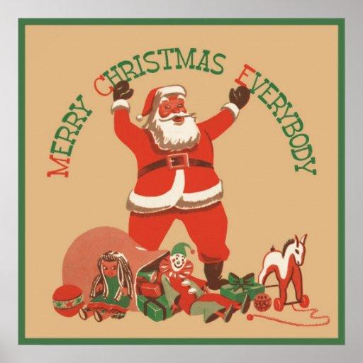 El vintage Papá Noel juega Felices Navidad todos Impresiones