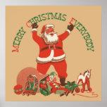 El vintage Papá Noel juega Felices Navidad todos Posters
