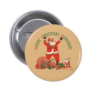 El vintage Papá Noel juega Felices Navidad todos Pin