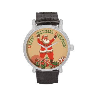 El vintage Papá Noel juega Felices Navidad todos Relojes De Pulsera
