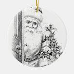 ¡El vintage Papá Noel viene a través de la puerta! Ornamento Para Arbol De Navidad