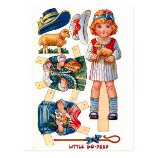 El vintage Paperdoll pequeña BO mira furtivamente Postal